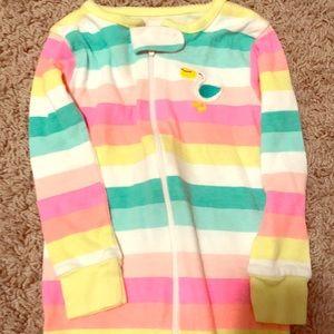 Rainbow stripe pelican pajamas footless